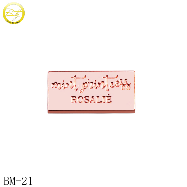 Small brand designer handbags <strong>logos</strong> rose gold metal name tag for wooden box