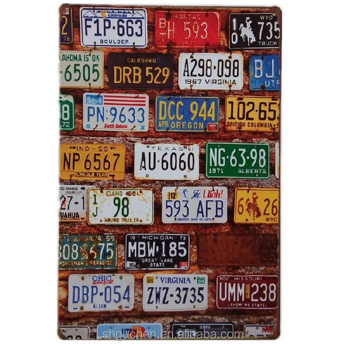 Licence Plate Vintage  Metal Sign Retro Wall Cafe Living Room Bar Restaurant Decor Plates Craft Gift for Friend