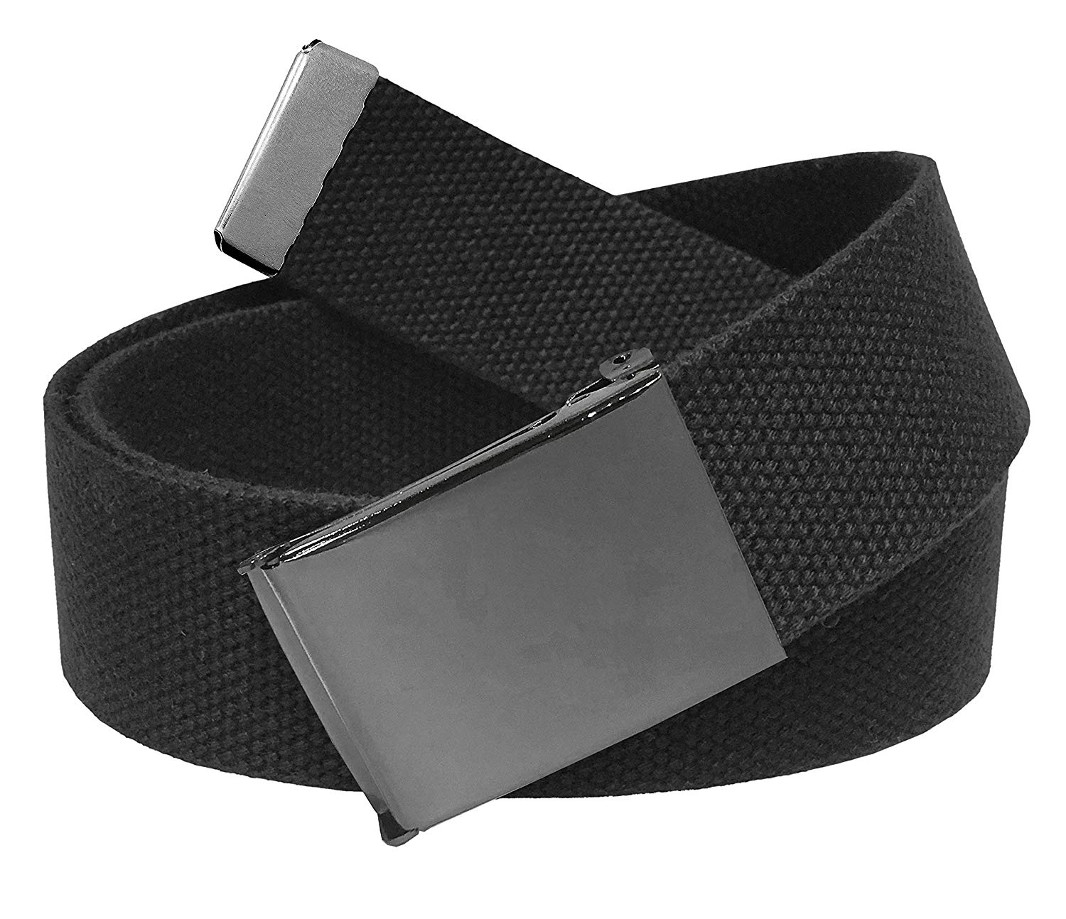 7b8987a562eae Get Quotations · Men's Golf Belt in 1.5 Polished Pewter Flip Top Buckle  with Canvas Web Belt