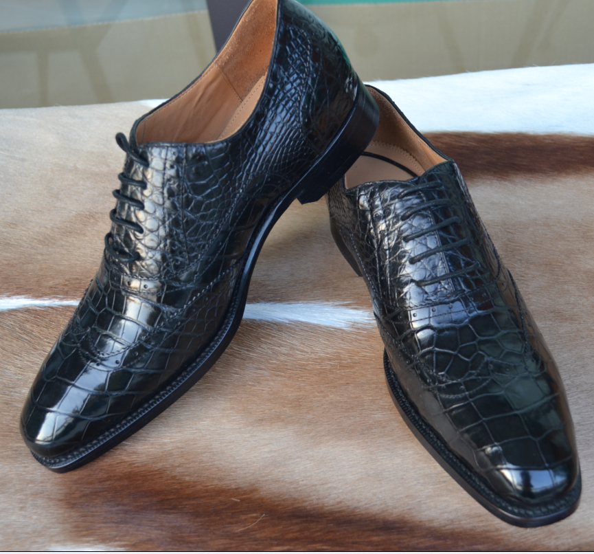 Fashion Wingtips Crocodile Skin Men Shoes Brogue Style Leather Shoes Men