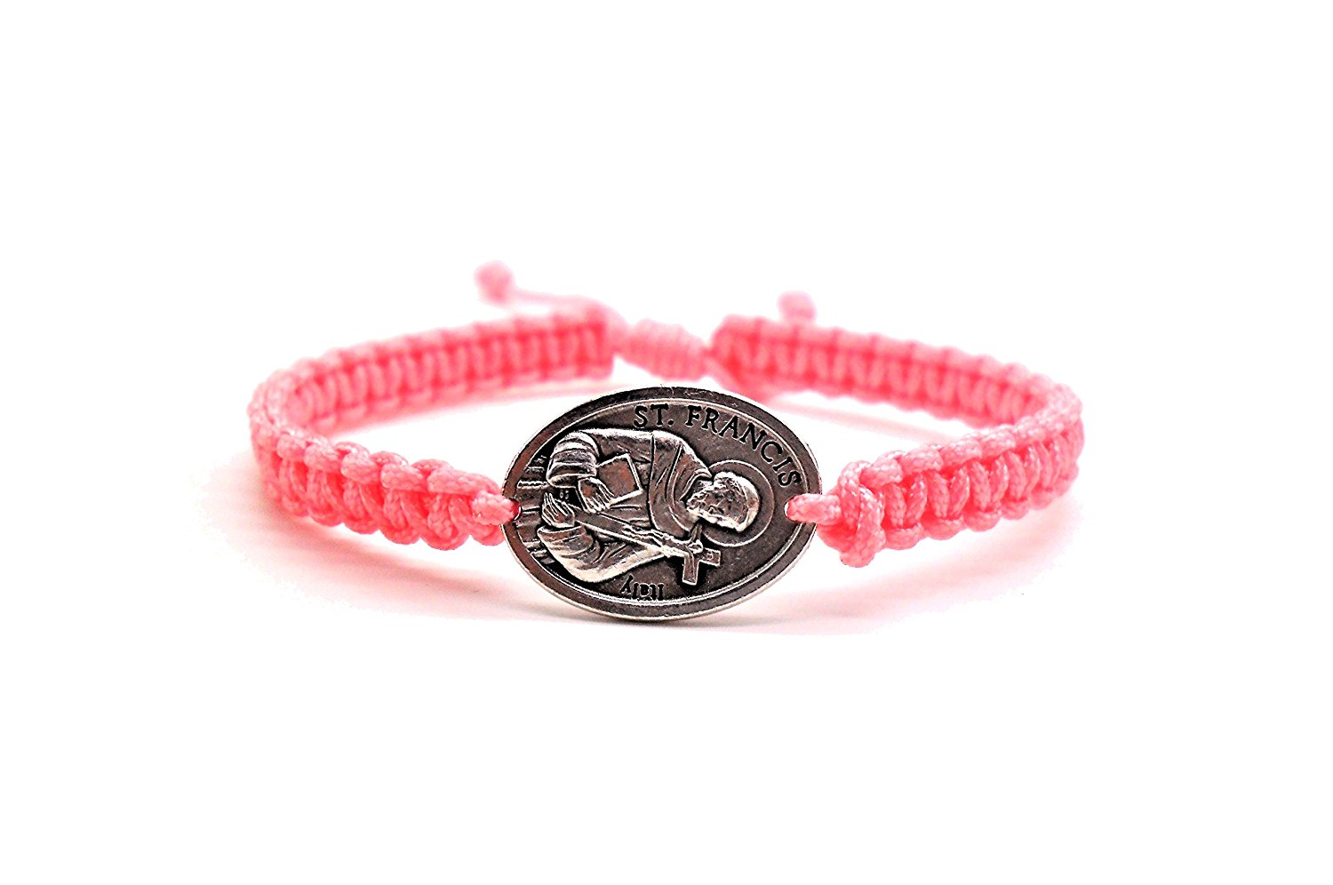 Benedict Gifts Catholic St. Francis (One side) & Pope Francis (Other side) Blessing Bracelet on Pink Cord, Catholic bracelet, Gift Bracelet, Handmade Bracelet
