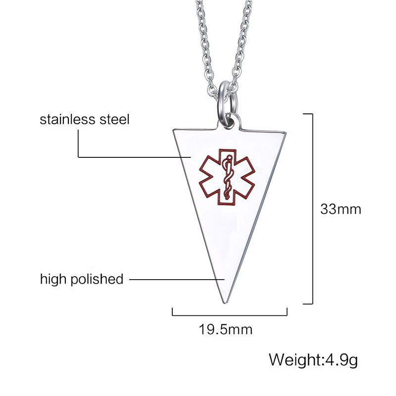 Factory wholesale jewelry necklace triangle medical necklace