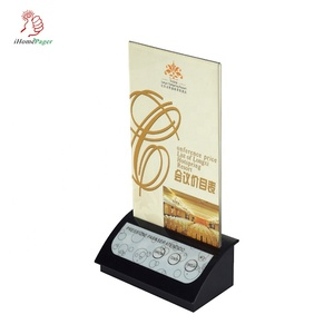 Wireless cheap restaurant table top caller  bell with advertise or table number folder