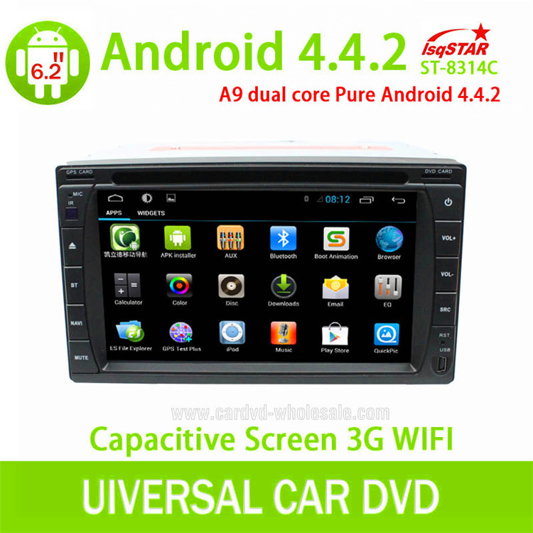 In dash Capacitive touch screen Android 4.4 car dvd for Universal gas navigation