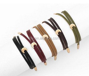 Triple Warp Leather Bracelet with Moon Charm 5 Colors Available