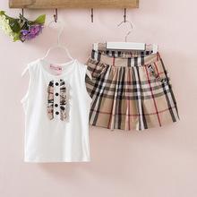 England grid girls summer vest skirt suit brand style 2016 Girls Short Set Children kids Clothes