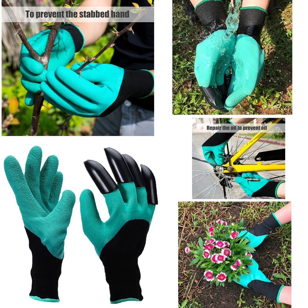 Garden Genie Gloves with Sturdy Claws,Quick & Easy to Dig & Plant & Rake Puncture Resistant to Protect Your Hands With the Claw Garden Gloves. 1 Pairs