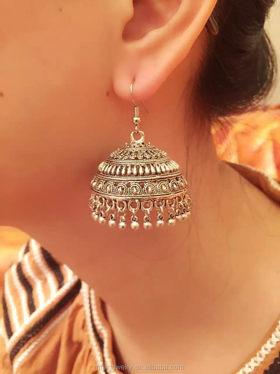 Antique Silver Ethnic Nepal Indian Traditional Drop Dangle Jhumka ...