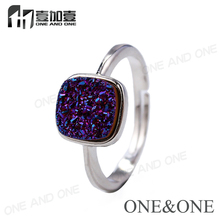 8mm Cushion Cut Natural Drusy Quartz Adjustable Rings in White Gold Plated