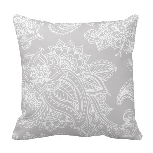 Worst Gray Illustrated Bohemian Paisley Henna Throw Pillow Case (Size: 20