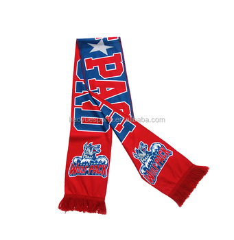 Promotional Custom Sublimation Own Design Fans Sport Knitted Soccer Scarf