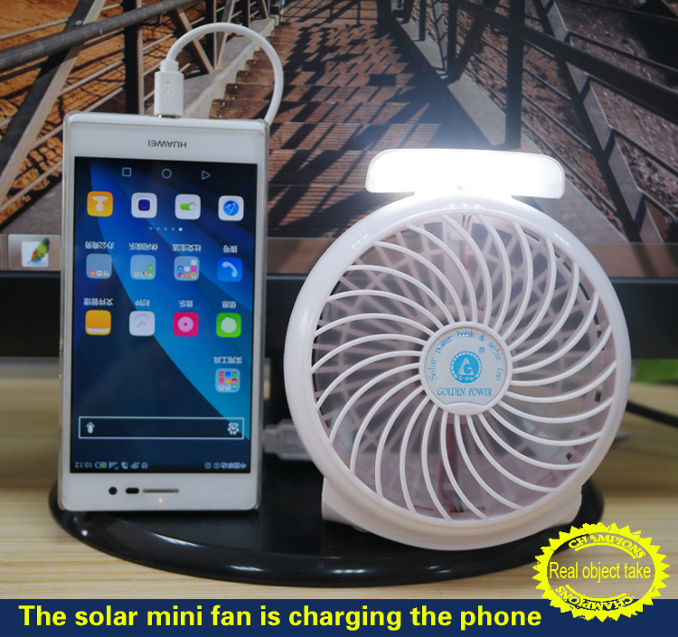 Mini table solar power portable USB fan with power bank