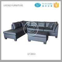 American style L shape 2 piece section leather corner sofa with ottoman, LF-3012