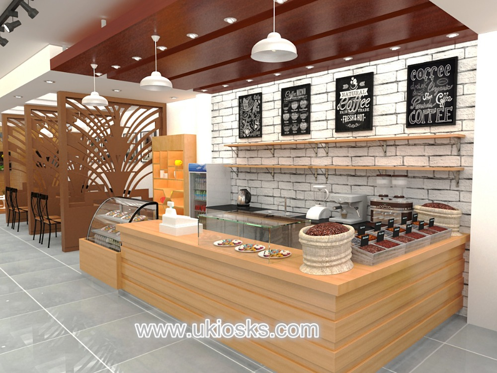 Saudi Arabia retail coffee shop furniture, modern coffee kiosk design for sale