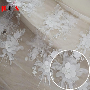 2018 White bridal embroidered tulle lace fabric wedding dress material