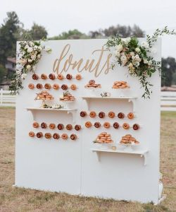 outdoor white acrylic donut wall / board with shelves