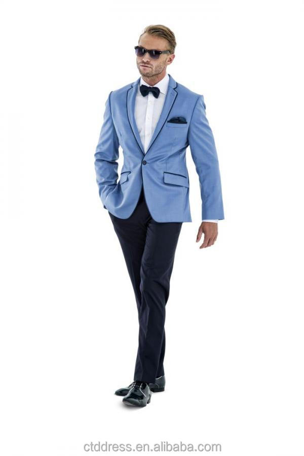c6a897413723a 2015 son tasarım açık mavi slim fit smokin erkek takım elbise parlak saten  kırpma
