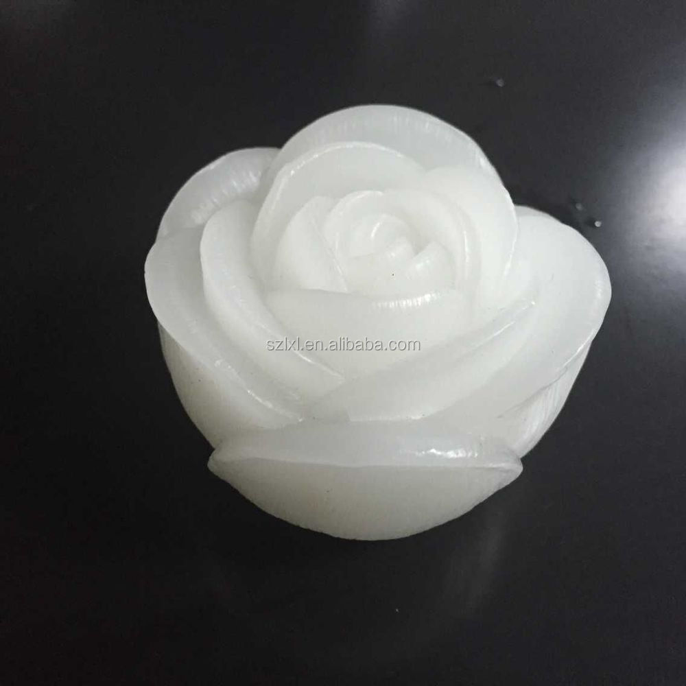 Reusable Real Wax LED color changing flameless Floating Rose candle light for wedding decoration