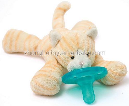 plush baby toy with pacifier,baby pacifier toy calm,Plush Cat Pacifier Toy