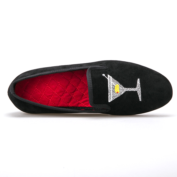 Loafers Shoes Piergitar Men Motif Velvet Black Dress Ax0q1
