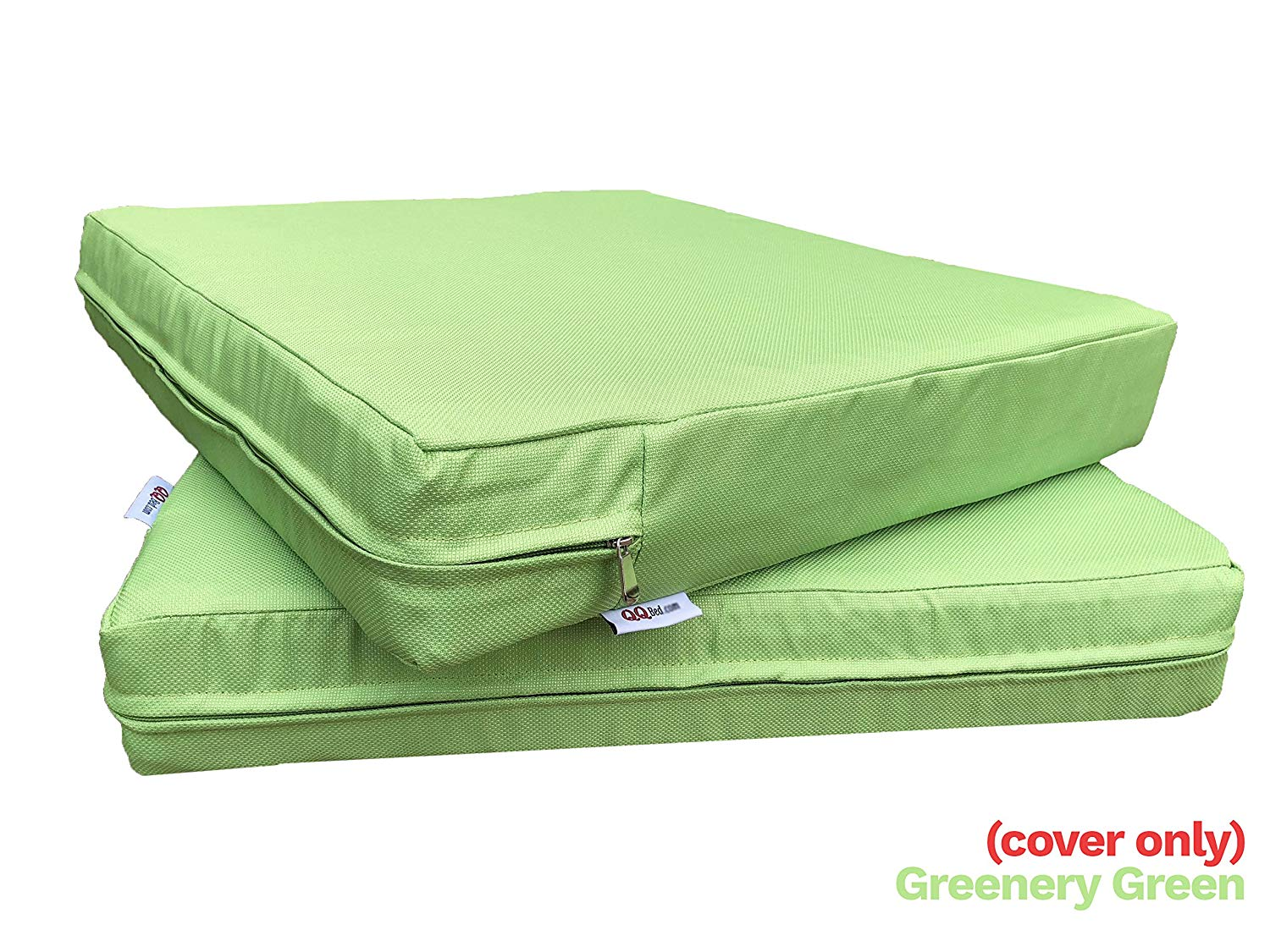 """QQbed 4 Pack Outdoor Patio Chair Washable Cushion Pillow Seat Covers 20"""" X 18"""" - Replacement Covers Only, X4 Greenery Green"""