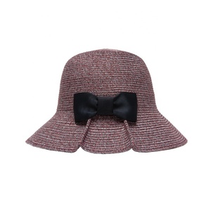 2019 New design Bowed Floppy Sun Beach Straw Hats Custom Decoration Boater Bow bucket hat for women