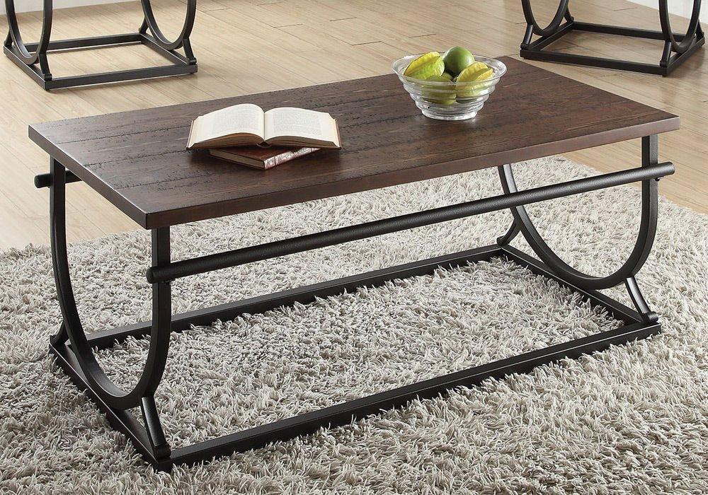 Get Quotations · 1PerfectChoice Debbie Living Room Home Coffee Table Cherry  Wood Black U Shape Metal Base