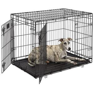 XS S M L XL XXL 22 24 30 36 42 48 Inch Single Double Door Folding Metal Dog Crate Cage With Panel Floor Tray Large Big Small Pet