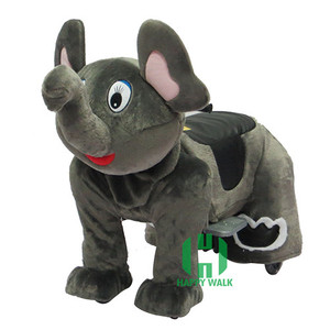 HI CE Top selling animal ride large plush ride toy on wheels coin operated animal ride