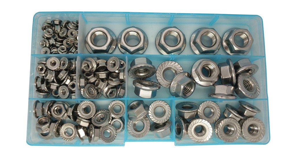 Guard4U 140Pcs 7-Size Metric Stainless Steel Flange Hex Lock Nuts Assortment Kit, For M3 M4 M5 M6 M8 M10 M12