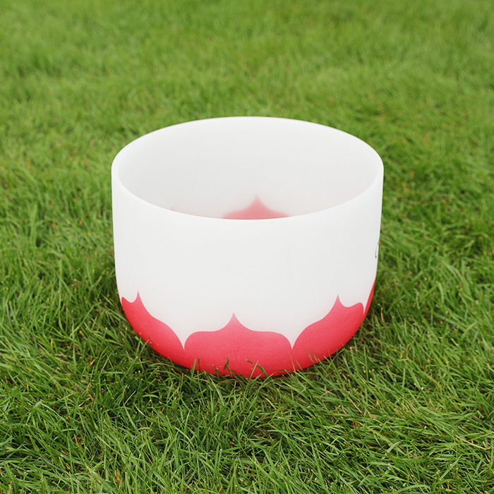 Chakra Guarigione Glassato Cristallo Di Quarzo Singing Bowl con Chakra Lotus Design
