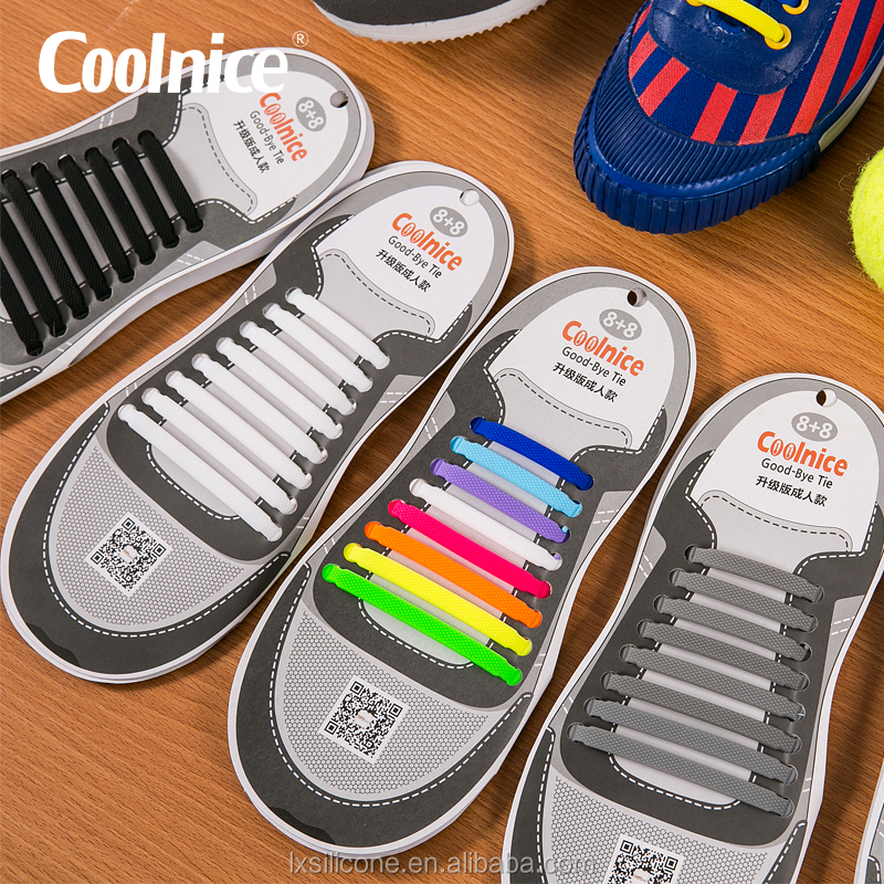 Coolnice No Tie Elastic Shoe Laces 100/% Silicone Trainers For Adults /& Kids