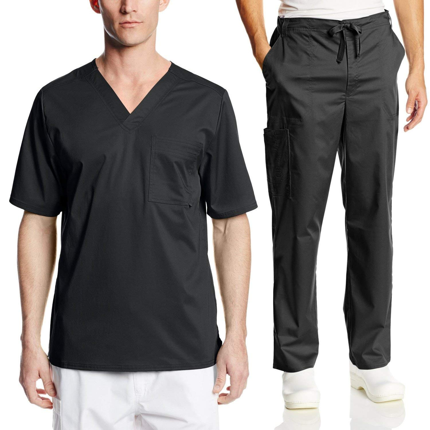 a6499622140 Get Quotations · Cherokee Mens Luxe Scrub Set Medical/Dentist Uniform V-Neck  Top, Drawstring Pant