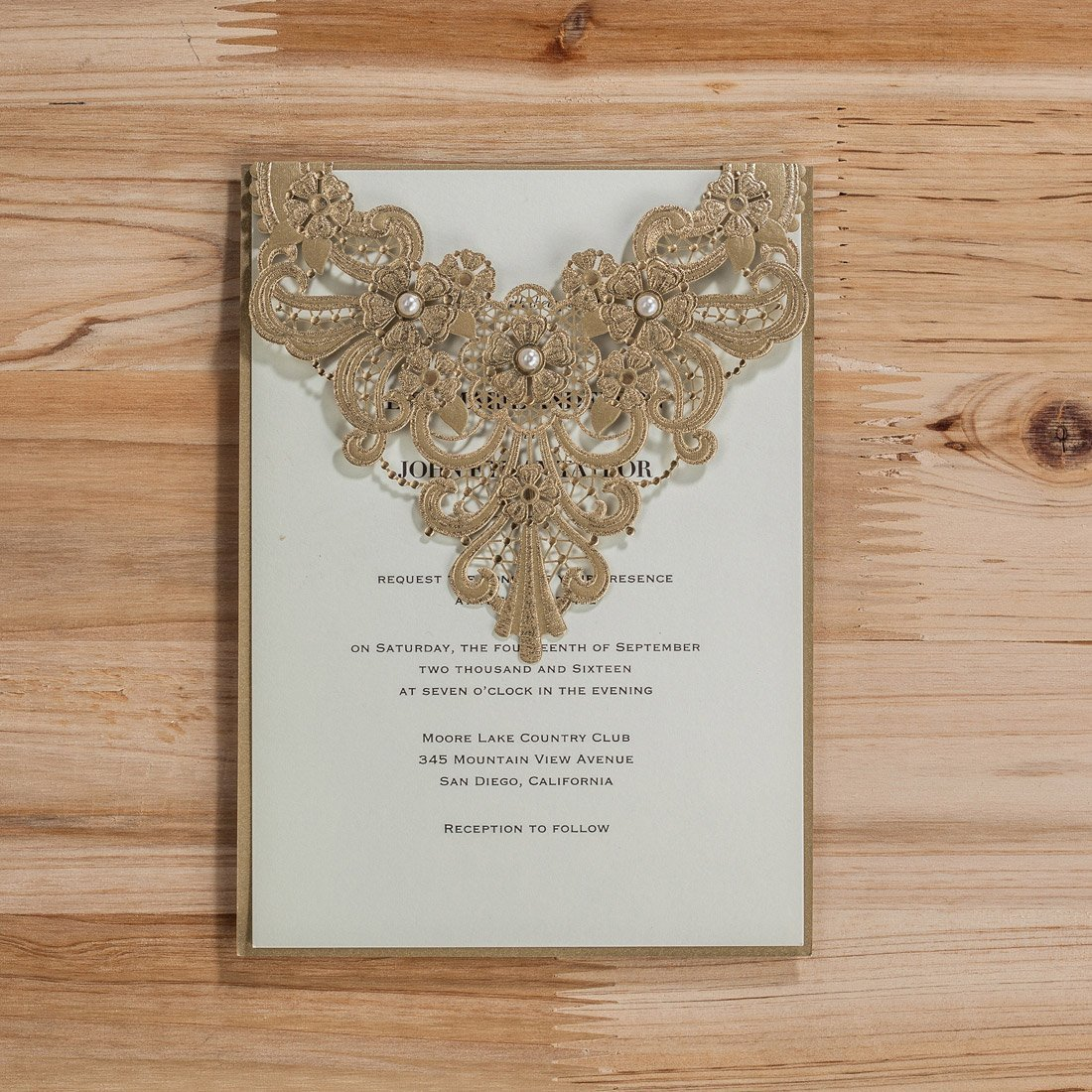wishmade 50x elegant gold laser cut wedding invitation cards kits with pearl lace sleeve flowers cardstock