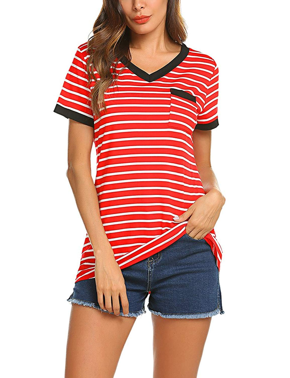 Queensheero Womens Casual Striped Shirt V Neck Short Sleeve Trimmed T-shirt Top Blouse with Pocket