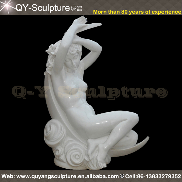 High Grade White Marble Naked Woman Statue
