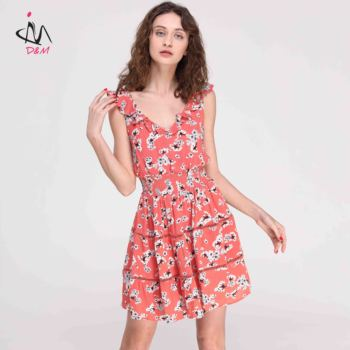 47813f511a5cc Hot Summer V-neck Beach Dresses Backless Casual Lace Pink Floral Print Dress  Rayon Dress Custom casual dress for women