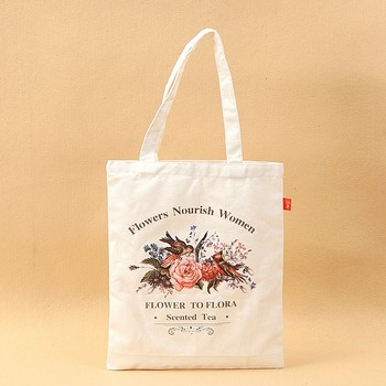 Promotional high quality heat transfer printing cotton canvas tote shopping bag