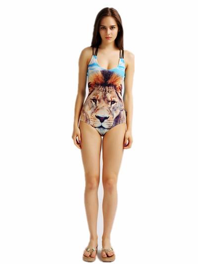 Ladies Lion Sexy One Piece Latest Digital Printing Dylan Swim Suit