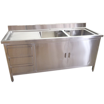 Double Bowl Sink Cabinet With 3 Drawers