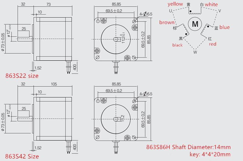 toauto 863s42 high precision 48 volt nema 34 stepper motor