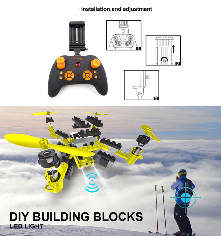 3. T11S_Yellow_WIFI_FPV_DIY_Building_Blocks_Drone_with_0.3MP_Camera_RC_Drone
