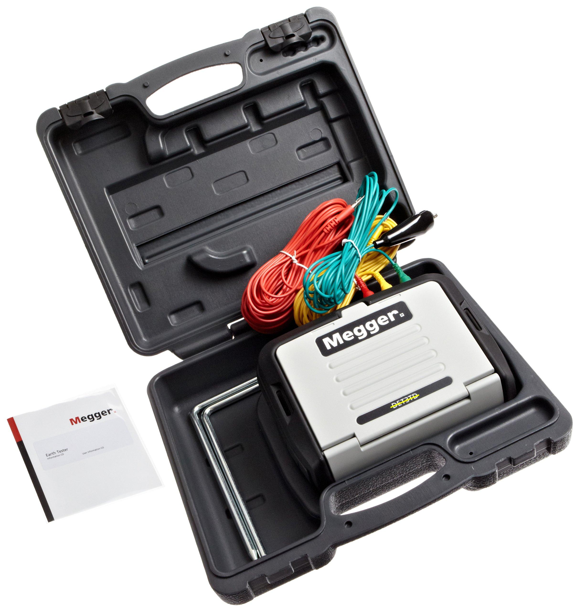 Megger DET3TD 3-Terminal Digital Ground Resistance Tester, 0.01 to 2000 2%± 3d Resistance Range, 0-100 V Ground Voltage Range