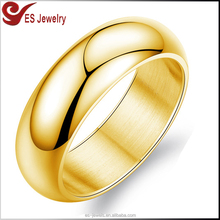 8 grams Mirror Polishing Simple Gold Plain Finger Ring without Stone for Engagement Wedding Band
