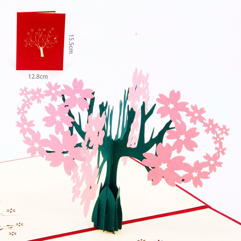 Cheap paper moon greeting cards find paper moon greeting cards paper spiritz sakura cherry blossoms pop up love greeting card 3d cards graduation matching envelope laser kristyandbryce Image collections