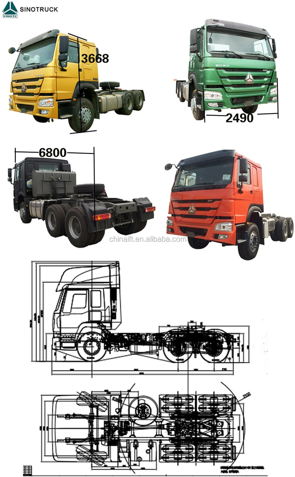 International low price HOWO T7H 4X2 400HP Euro4 AMT Tractor head Truck for sale