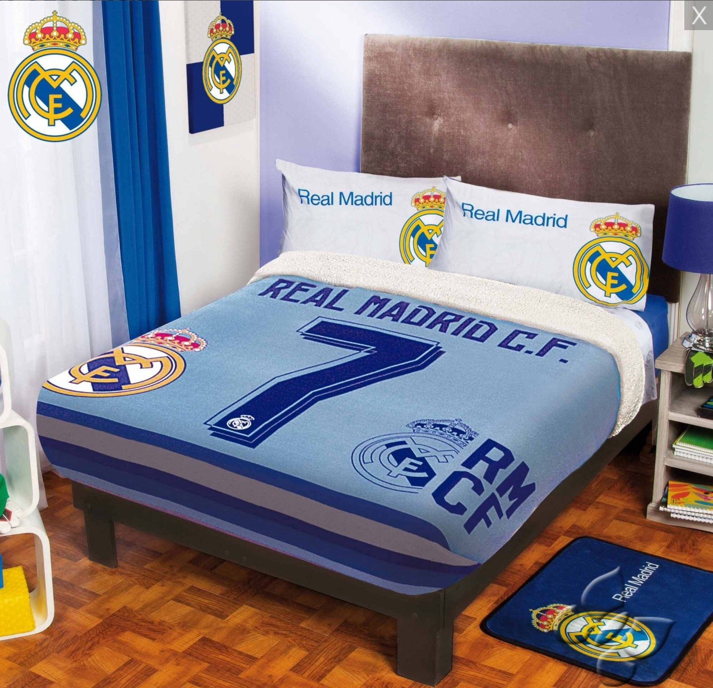 CRISTIANO RONALDO CR7 REAL MADRID C.F. ORIGINAL LICENSED FUZZY FLEECE BLANKET 5 PCS QUEEN SIZE