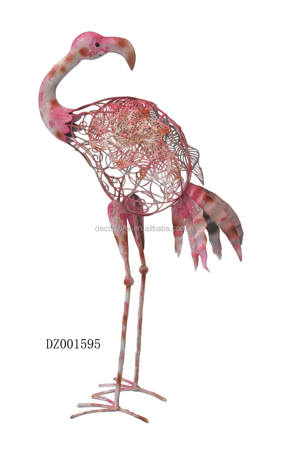 Flamingo garden ornament - Pink Flamingo Wrought Iron Metal Garden Ornaments