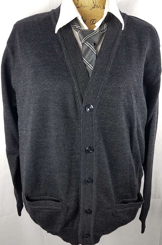 26ef153506 Get Quotations · Men s Cardigan V neck sweater Black Size XL