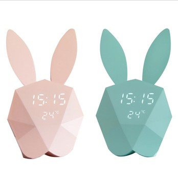 Smart mi rabbit temperature display digital electronic night light voice control alarm clock creative gift for women